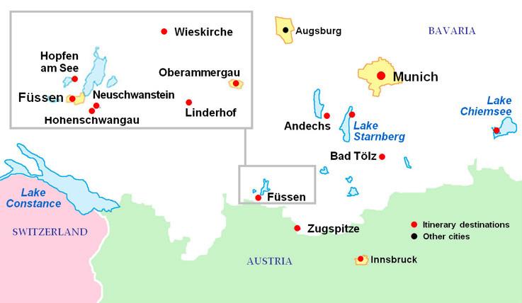 Map Of German Castles.Bavarian Castles Tour