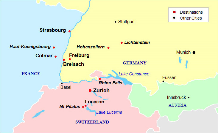 Black Forest Alsace Switzerland - Map of germany and france