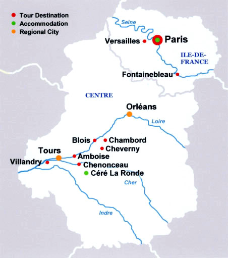 Versailles Map Of France.French Castles Tour