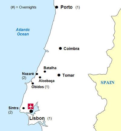 Portuguese Castles Tour - Portugal map tomar