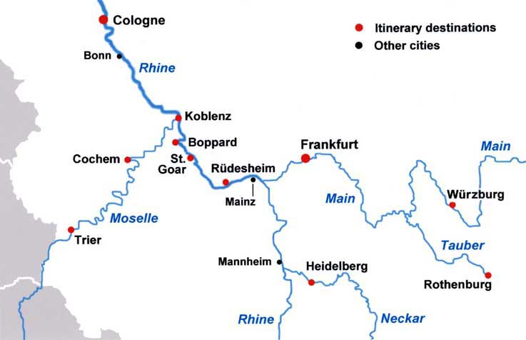 Map Of Germany With Rivers.River Castles Tour