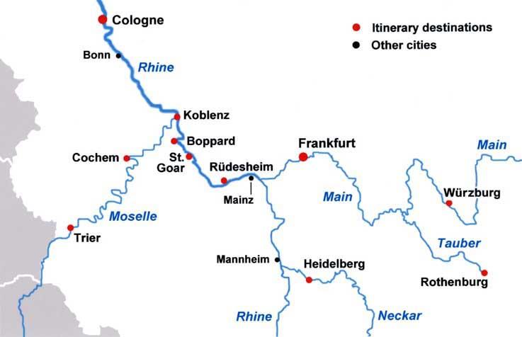 Map Of German Castles.River Castles Tour