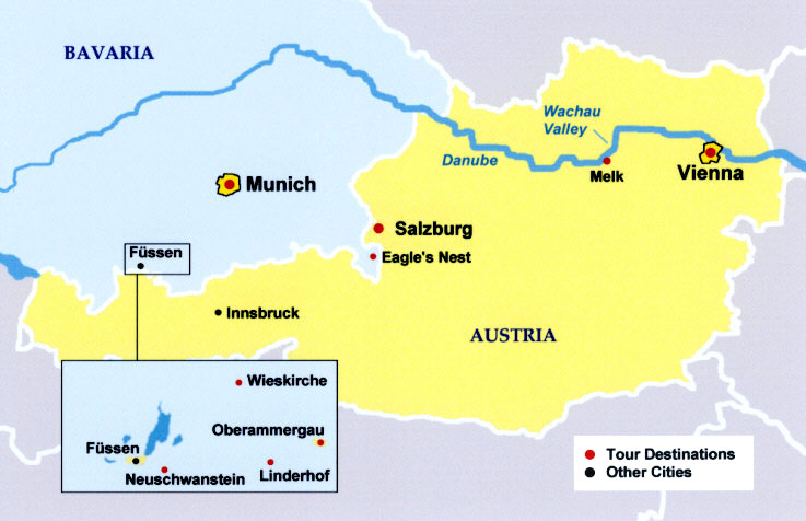 Map Of German Castles.Royal Delights Tour